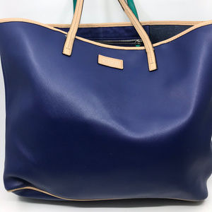 COACH XL Navy Blue Flat Leather Shoulder Bag